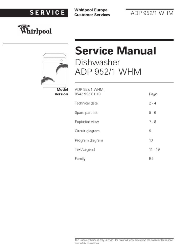 whirlpool service manual dishwasher adp9521whm