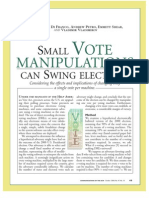 SMALL VOTE MANIPULATIONS CAN SWING ELECTIONS Yale Study