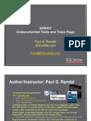 Randal SQL SDB407 Undocumented | Database Index | Microsoft Sql Server