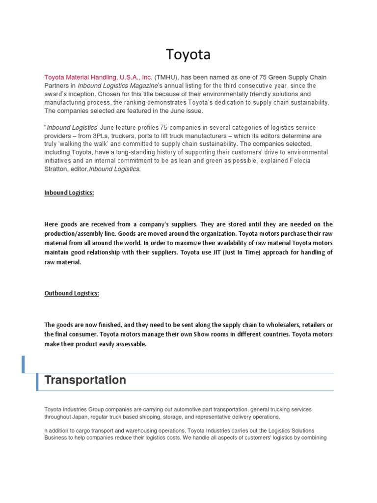 toyato company | Logistics | Inventory