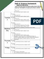 Weekly Math & Science Homestudy Schedule 10-8-12