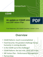 Update on the CGIAR Reform and strategy and results framework (SRF) action plan