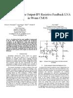 5GHz 21dBm OIP3 Resistive Feedback LNA in 90nm CMOS