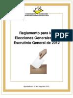 20120510 - Reglamento Para La Elecciones Generales y El Escrutinio General de 2012