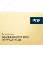 What Did I Learned in the Technology Class