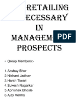 Why Retailing is necessary in management prospects