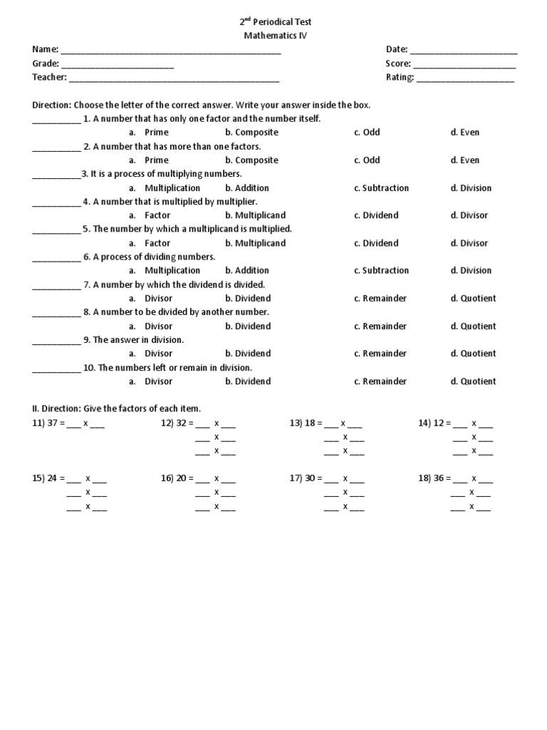 Grade 4 Maths Test - Kidz Activities