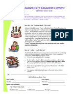 Birthday Book Club Form