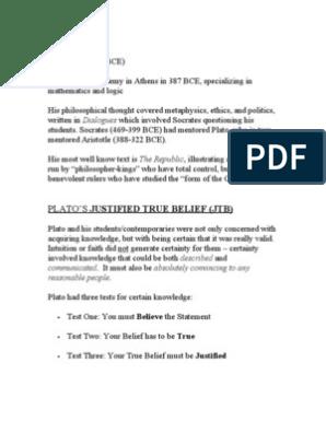 1 2 Plato Justified True Belief Notes Plato