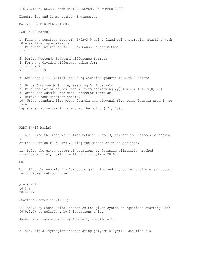 MA1251 NUMERICAL METHODS SYLLABUS PDF