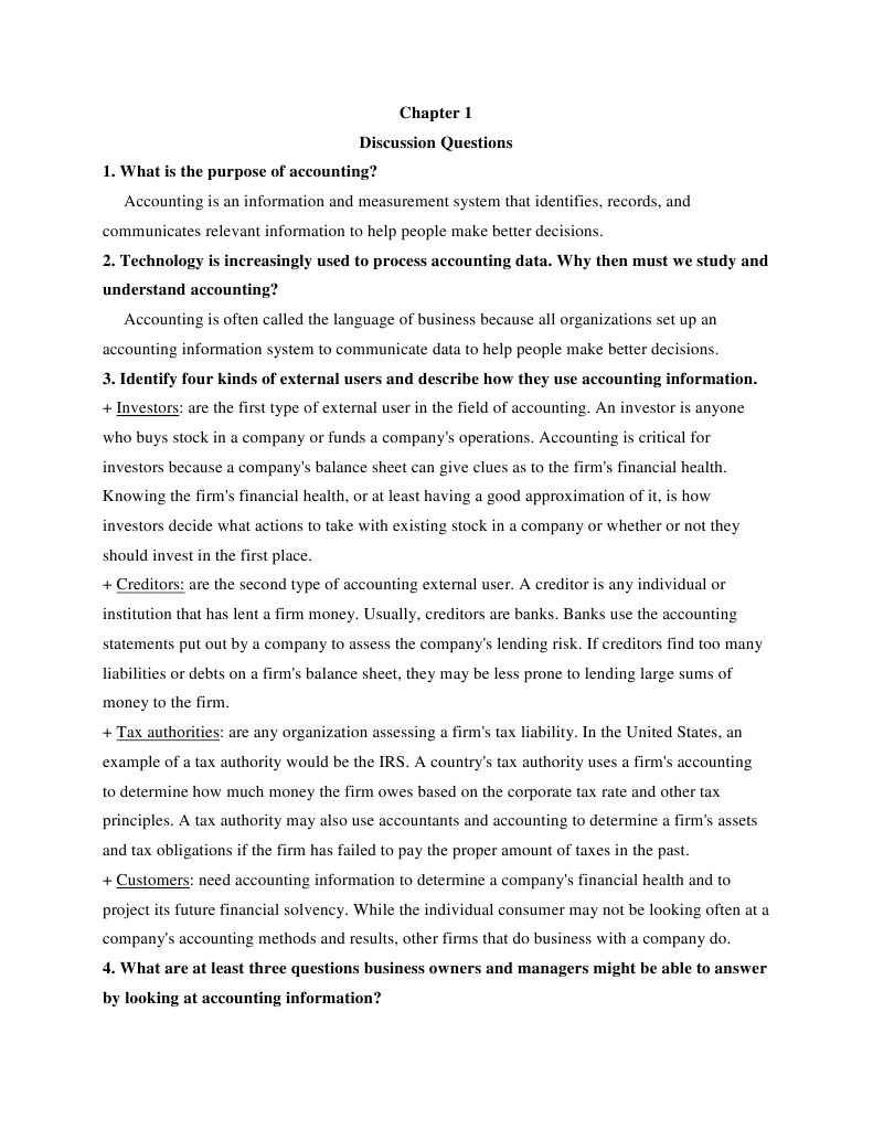 accounting chap 1 discussion accounting
