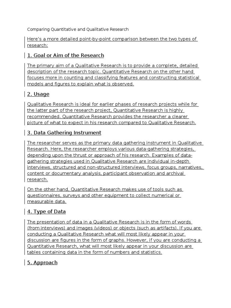 Comparing Quantitative and Qualitative Research