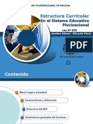 Plan Curricula Avelino Siñani Plan De Estudios Comunidad