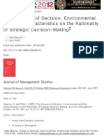 The Influence of Decision, Environmental and Firm Characteristics on the Rationality of Strategic Decision-Making - Elbanna - 2007 - Journal of Management Studies - Wiley Online Library