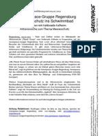 Presseerklärung vom 9.10. - Greenpeace Gruppe Regensburg bringt Walschutz ins Schwimmbad