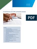 Actualites Loi de Finances Pour 2012 Principales Mesures