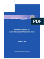 Recommendations on Arms Procurement Reforms in India