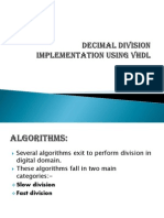 Decimal Division Implementation Using Vhdl
