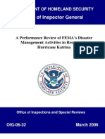 Office of Inspector General Report on FEMA Handling of Hurricane Katrina