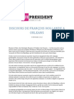 Discours de François Hollande à Orléans