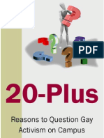 20 Reasons to Question the Gay Agenda - Single Page Booklet