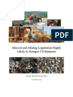 Mineral and Mining Legislation Highly Likely to Hamper US Businesses