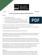 Reinz Residential Press Release September 2012