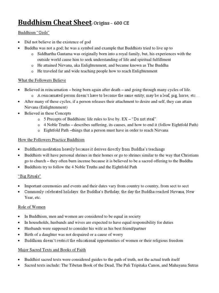 Buddhism Cheat Sheet Enlightenment In Buddhism Gautama Buddha
