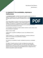El Arquitecto y Las Sociedades, Empresas e Instituciones Perezbanuet