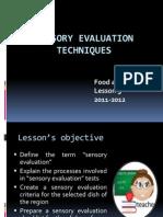 Sensory Evaluation Techniques Lesson 9 Fs'11-12