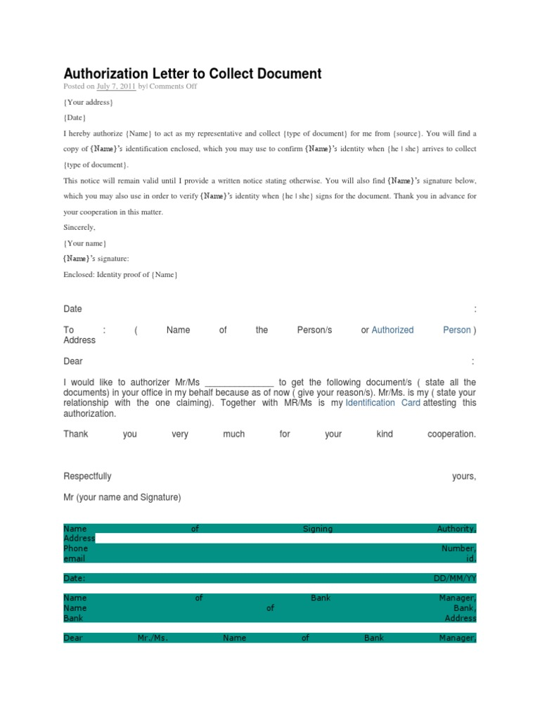 Authorization Letter to Collect Document – Sample Credit Card Authorization Letter