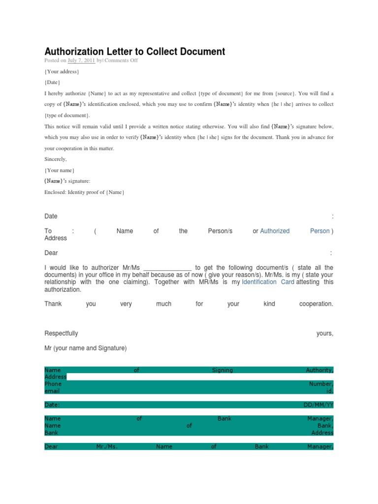Authorization letter to collect document altavistaventures Gallery