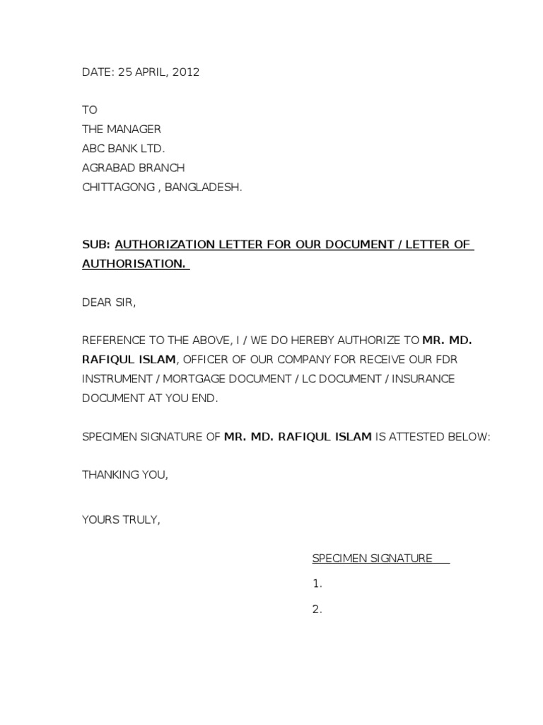 letter of authorization to claim something authorization letter to claim documents 25357