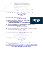 Projectile Motion Practice With Solutions