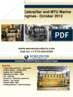 Used & New Caterpillar and MTU Marine Diesel Engines - October 2012
