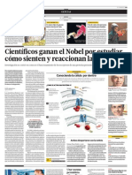 Científicos ganan el Nobel por estudiar como sienten y reaccionan las células