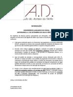 INFORMAÇÃO IAD - HONORÁRIOS LANÇADOS NO SINOA ANTERIORES A 1 DE SETEMBRO DE 2010 E NÃO PAGOS