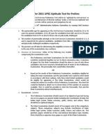 Syllabus for 2011 UPSC Preliminary Examination