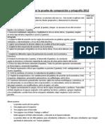 Tabla para evaluar la prueba de composición y ortografía 2012