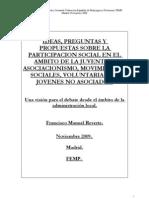 Francisco Manuel Reverte - Propuestas sobre la participación social en el ámbito de la juventud