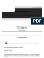 Module 18 - Pharmacotherapy for Respiratory Disorders