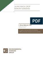 Impact of Scaling Back Crop Insurance Premium Subsidies