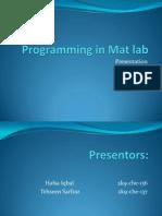 Programming in Mat Lab