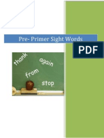 Pre-PrimerSight WordColor Cards
