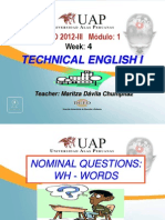 Ayuda 4.3. Nominal Questions in All Tenses Wh - Words