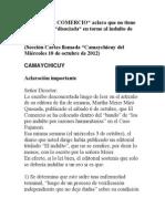 """Camaychicuy- DIARIO """"EL COMERCIO"""" aclara que no tiene una posición """"disociada"""" en torno al indulto de Fujimori   (Sección Cartas llamada """"Camaychicuy del Miércoles 10 de octubre de 2012)"""