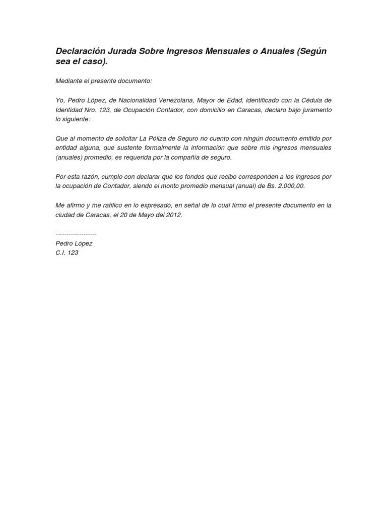 Modelo De Declaracion Jurada De Alimentos – Solo otras ideas de ...
