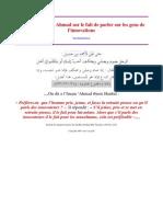 Parole de l'Imam Ahmad Sur Le Fait de Parler Sur Les Gens de l'Innovations