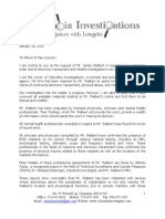 Walbert - Letter to the Court From Columbia Investigations