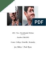 2012 Vice Presidential Debate (transcript)